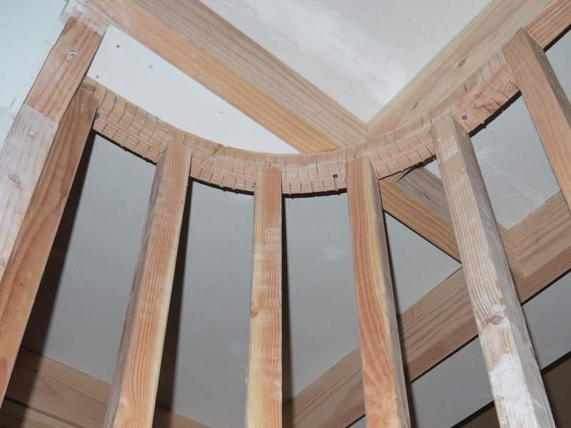 Cloison courbe avec une ossature bois ~ Cloison Exterieur Bois